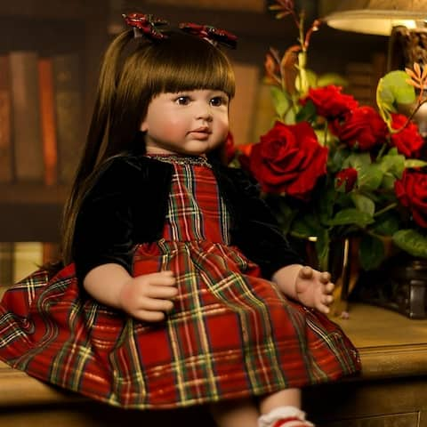 "24"" Beautiful Simulation Baby Wearing a Christmas Plaid Skirt Doll - Girl"