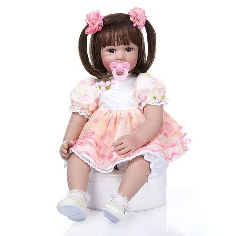 "24"" Beautiful Simulation Baby Girl Doll Wearing Pink Print Gauze - Pink"