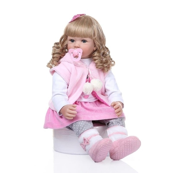 """24"""" Beautiful Simulation Baby Golden Curly Girl Wearing Pink Clothes Doll. Opens flyout."""