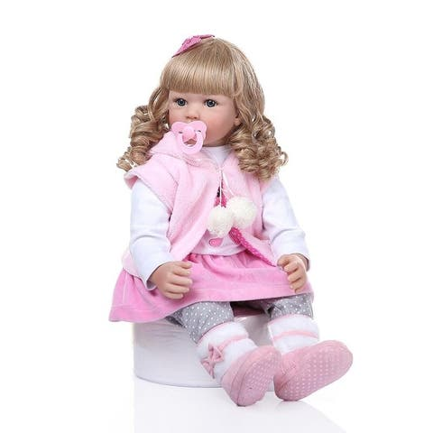 """24"""" Beautiful Simulation Baby Golden Curly Girl Wearing Pink Clothes Doll"""