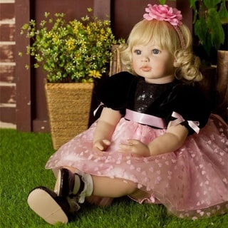 "Link to 24"" Beautiful Simulation Baby Wearing Black Powder Skirt Doll - Girl Similar Items in Dolls & Dollhouses"