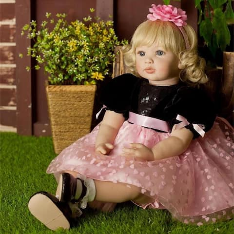 "24"" Beautiful Simulation Baby Wearing Black Powder Skirt Doll - Girl"