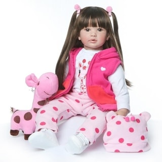 "Link to 24"" Beautiful Simulation Baby Wearing a Pink Giraffe Outfit - Girl Similar Items in Dolls & Dollhouses"
