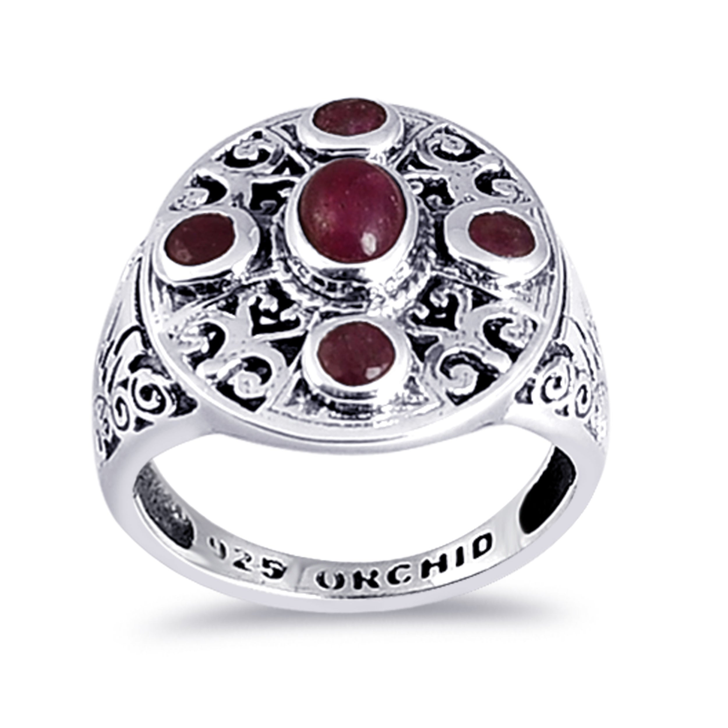 Campton Gold Plated Sterling Silver Stud Earrings Round 6mm Large 13473 Model ERRNGS Red Garnet CZ~January