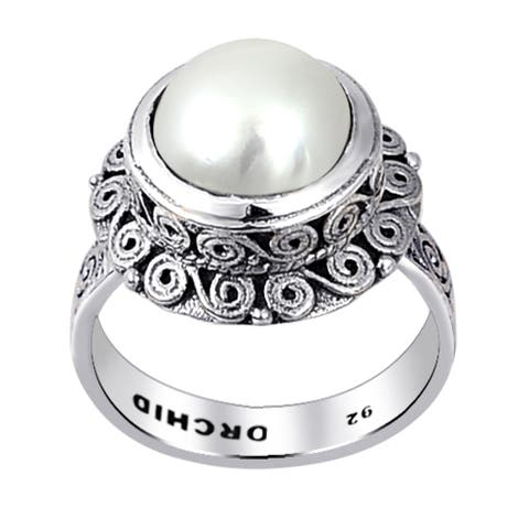 Pearl Sterling Silver Round Statement Rings by Orchid Jewelry