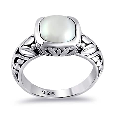 Pearl Sterling Silver Cushion Anniversary Rings by Orchid Jewelry
