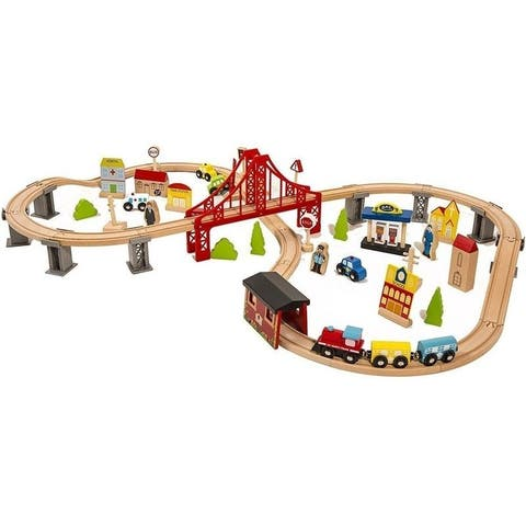 70pcs Wooden Train Set Learning Toy Kids Children Fun Road - Multicolor