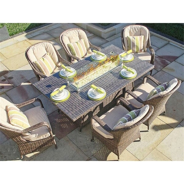New fashion rattan Rectangular Gas Fire Pit Table Direct Wicker- (TABLE ONLY)