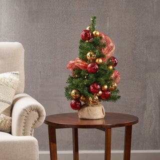 2-foot Noble Fir Pre-Lit Clear LED Pre-Decorated Artificial Christmas Tree by Christopher Knight Home