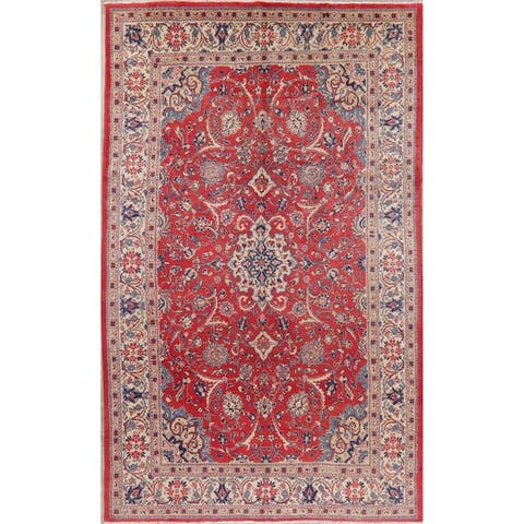 "Vintage Floral Sarouk Persian Area Rug Handmade Oriental Living Room - 7'3"" x 11'10"""