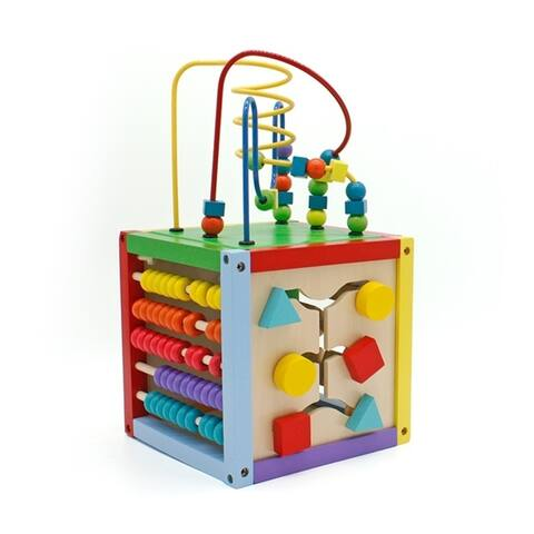 8 x 8 Inch Wooden Learning Bead Maze Cube - Yellow - Multicolor