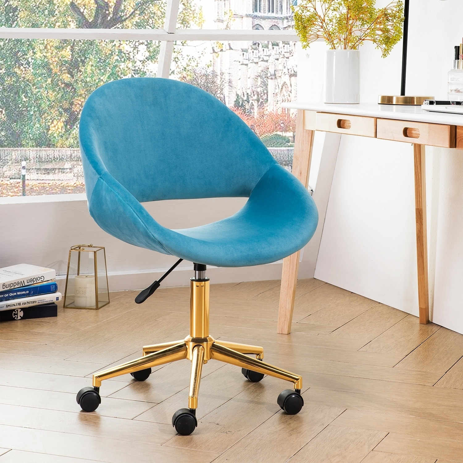 Ovios Cute Desk Chair Plush Velvet Office Chair For Home Or Office Modern Comfortble Nice Task Chair For Computer Desk