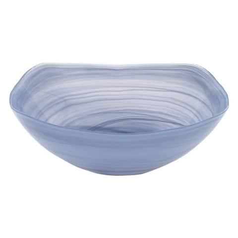 "Sky Blue Alabaster Glass 10"" Squarish Bowl"
