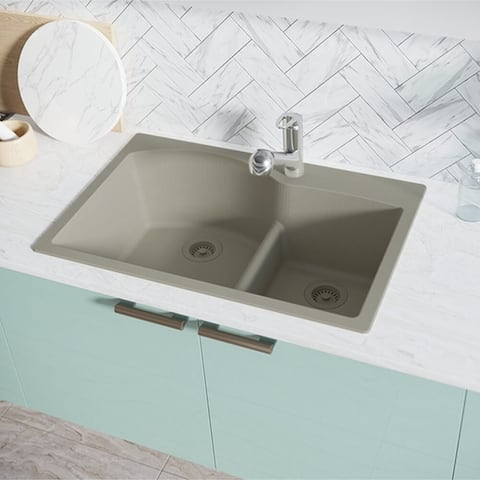 R3-2008-Ecru Double Offset Bowl Low Divide Topmount Composite Granite Sink. Two Grids, and Matching Colored Strainer and Flange