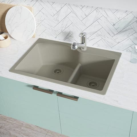R3-2008-Ecru Double Offset Bowl Low Divide Topmount Composite Granite Sink. Two Grids, and Two Matching Colored Strainers