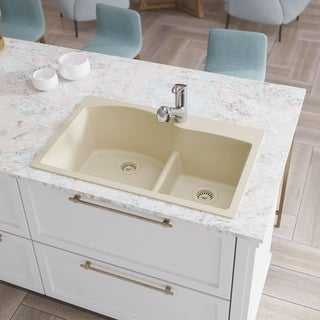 Link to R3-2008-Ecru Double Offset Bowl Low Divide Topmount Composite Granite Sink. Two Grids, and Two Matching Colored Strainers Similar Items in Sinks