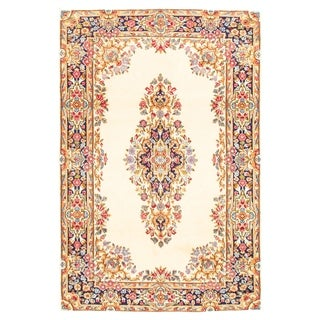 Hand-knotted  Royal Kerman Cream Wool Rug  ECARPETGALLERY - 4'0 x 6'1
