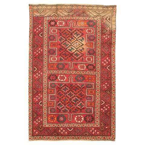 Hand-knotted Authentic Turkish Red Wool Rug - 4'8 x 7'3