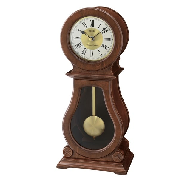 Seiko Rounded Wood Finish Clock with Chime and Pendulum