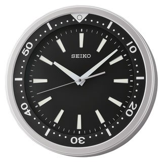 """Seiko 14"""" Ultra-Modern Black & Silver Tone with Quiet Sweep Wall Clock"""