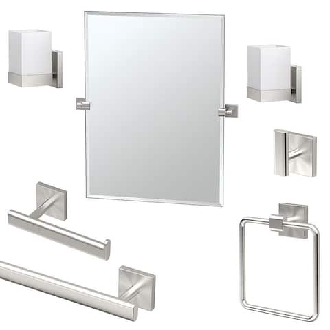 Gatco Elevate 7-Piece Bathroom Accessory Kit with Mirror and Wall Sconces - Satin Nickel