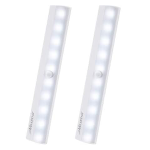 Maxxima Motion Sensor Under Cabinet LED Light, Dusk to Dawn Sensor, 40 Lumens, Battery Powered Cool White (2 Pack)