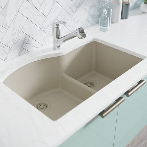 R3-1008-Ecru Double Offset Bowl Low Divide Undermount Composite Granite Sink. Two Grids and Matching Colored Strainer and Flange