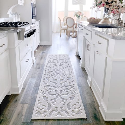 """My Texas House by Orian Indoor/Outdoor Lady Bird Natural Gray Runner - 2'3"""" x 8'"""