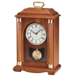 """Seiko 15"""" Chime Carriage Mantel with Chime, Pendulum and Metal Accents Clock"""