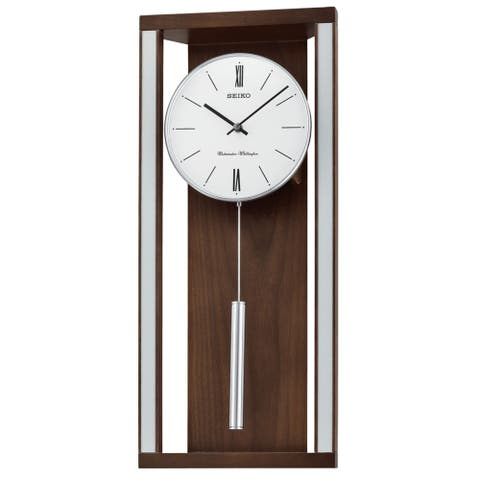 Seiko Modern & Sophisticated Wall Clock with Pendlum and Dual Chimes