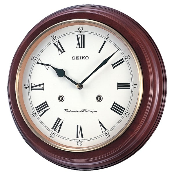 """Seiko 12"""" Round Wood Grain Finish Wall Clock with Dual Quarter Hour Chimes. Opens flyout."""