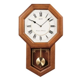 Link to Seiko Light Oak Traditional Schoolhouse Wall Clock with Chime & Pendulum Similar Items in Decorative Accessories