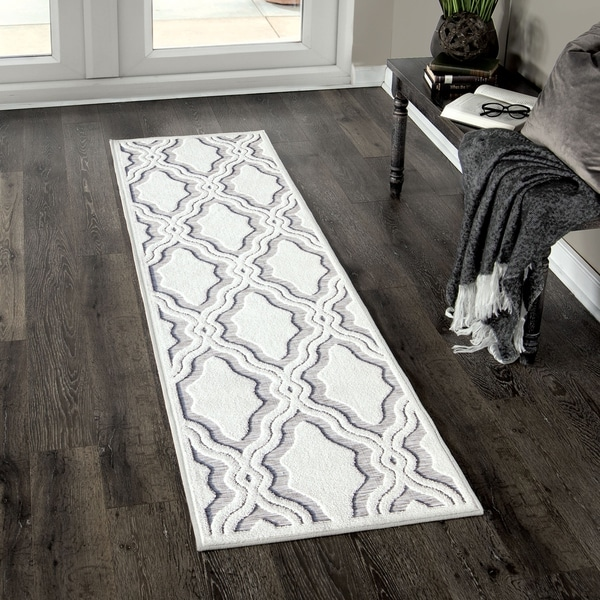 """My Texas House by Orian Indoor/Outdoor Cotton Blossom Natural Gray Runner - 1'11"""" x 7'6"""""""