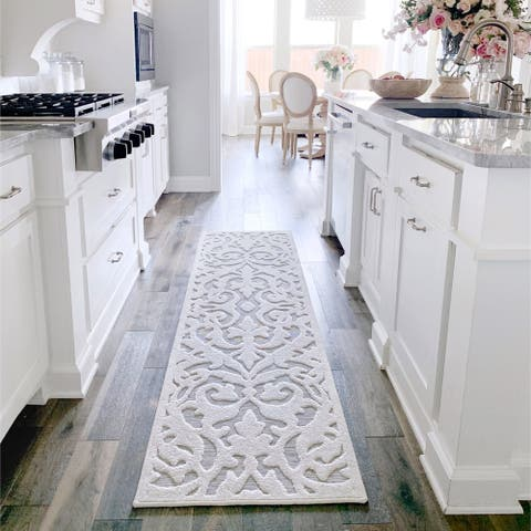 """My Texas House by Orian Indoor/Outdoor Lady Bird Natural Gray Runner - 2'3"""" x 12'"""