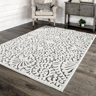 """My Texas House by Orian Indoor/Outdoor Bluebonnets Natural Gray Area Rug - 3'11"""" x 5'5"""""""