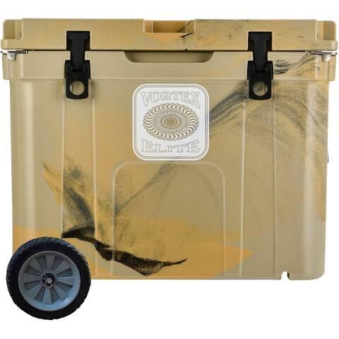 Vortex Elite Series 55-Quart Rotational-Molded Customizable Cooler System with 1 Set of Standard Wheels, Tan