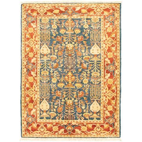 Hand-knotted Peshawar Ziegler Blue Wool Rug