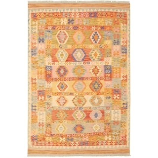 Flat-weave Bold and Colorful  Pink, Red Wool Kilim  ECARPETGALLERY - 5'5 x 8'2