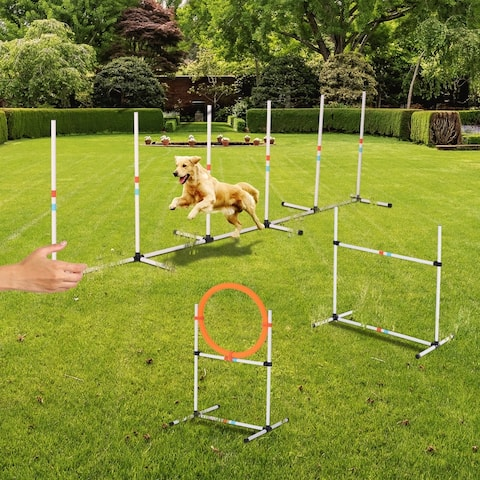PawHut 3PC Portable Pet Agility Pet Training Set Dog Obstacle Exercise Adjustable Jump Ring High Jumper w/Carry Bag