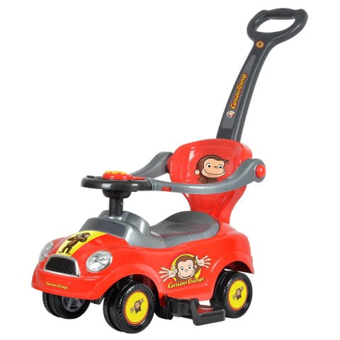 3 in 1 Curious George Push Car Red