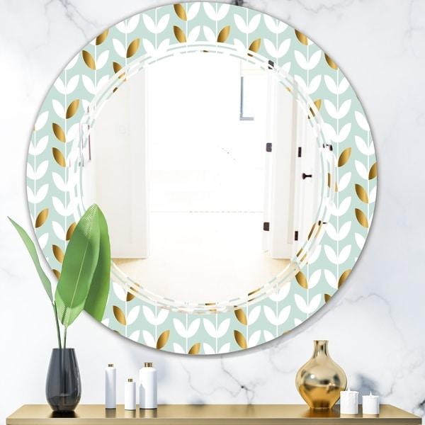 Designart 'Golden Foliage X' Modern Round or Oval Wall Mirror - Triple C