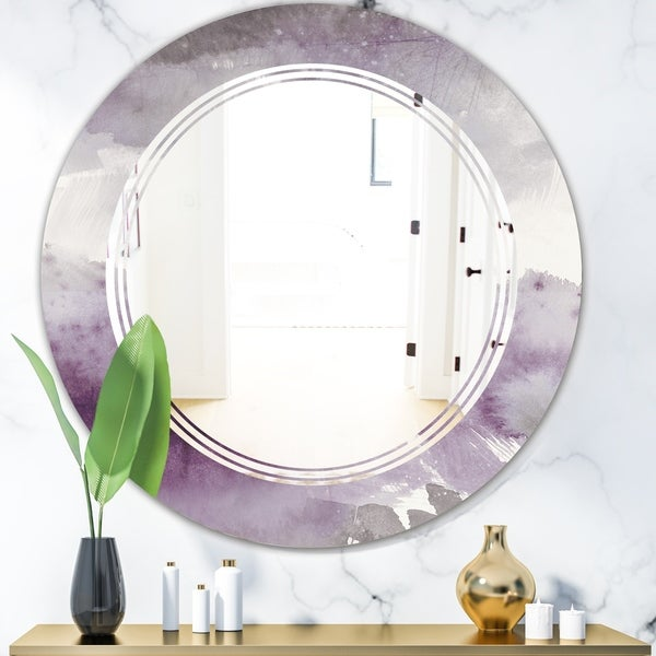Designart 'Midnight At The Lake II Amethyst and Grey' Modern Round or Oval Wall Mirror - Triple C
