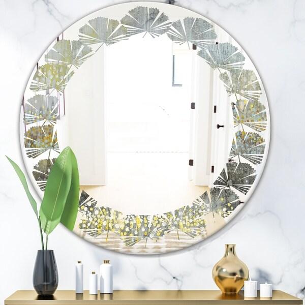 Designart 'Glam Rain Abstract III' Modern Round or Oval Wall Mirror - Leaves - Multi