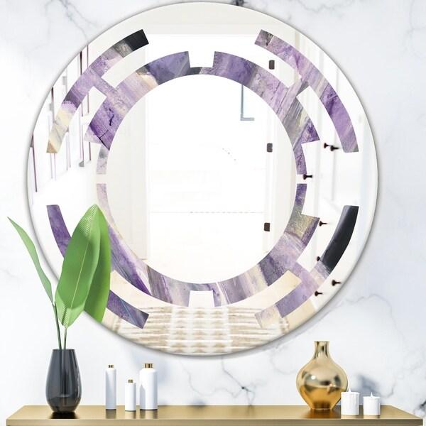 Designart 'Geometric Purple Glacier' Modern Round or Oval Wall Mirror - Space