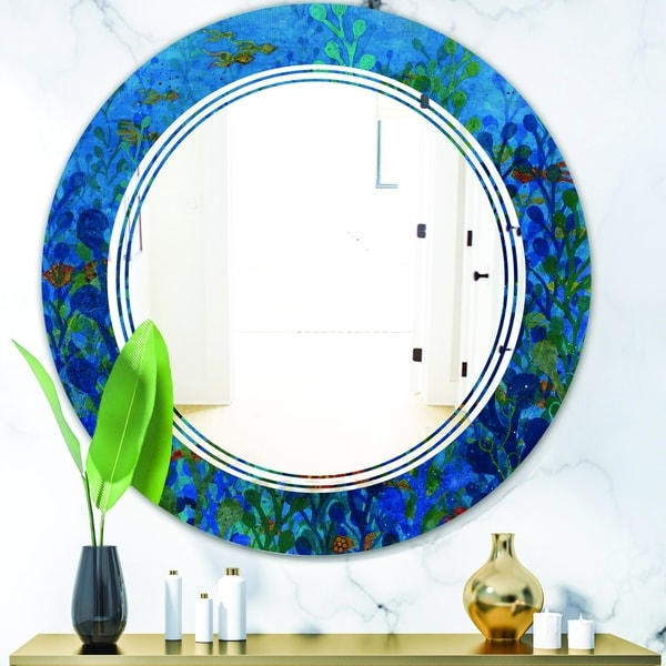 Designart 'Blue Underwater Lake leaves I' Cottage Round or Oval Wall Mirror - Triple C