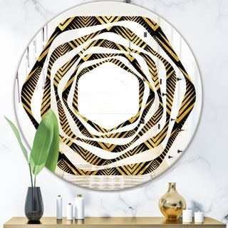 Designart 'Art Deco Seal pattern' Modern Round or Oval Wall Mirror - Whirl
