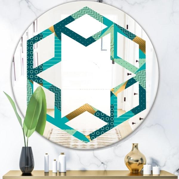 Designart 'Gold and Blue Dynamics II' Modern Round or Oval Wall Mirror - Hexagon Star