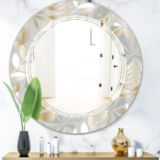 Designart 'Golden Tropical Pattern VIII' Modern Round or Oval Wall Mirror - Triple C