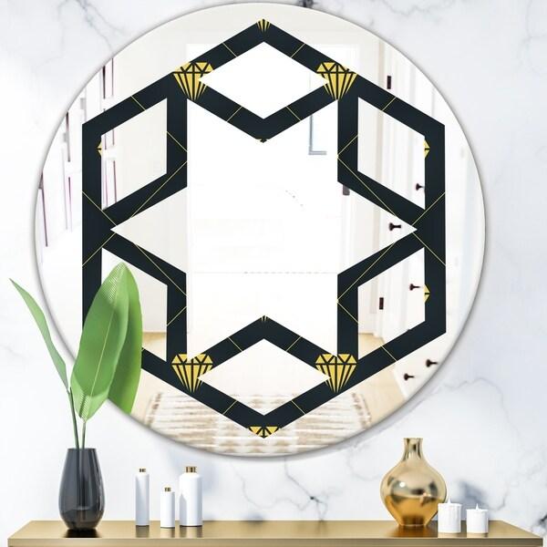 Designart 'Golden Heart Design' Modern Round or Oval Wall Mirror - Hexagon Star