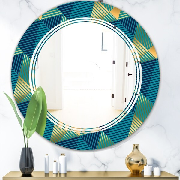 Designart 'Retro Luxury Waves In Gold and Blue VII' Modern Round or Oval Wall Mirror - Triple C